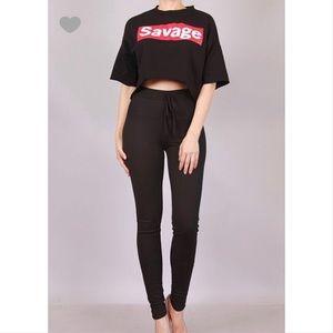 😻 Savage Oversized Cut Off Crop Top T-Shirt 😻